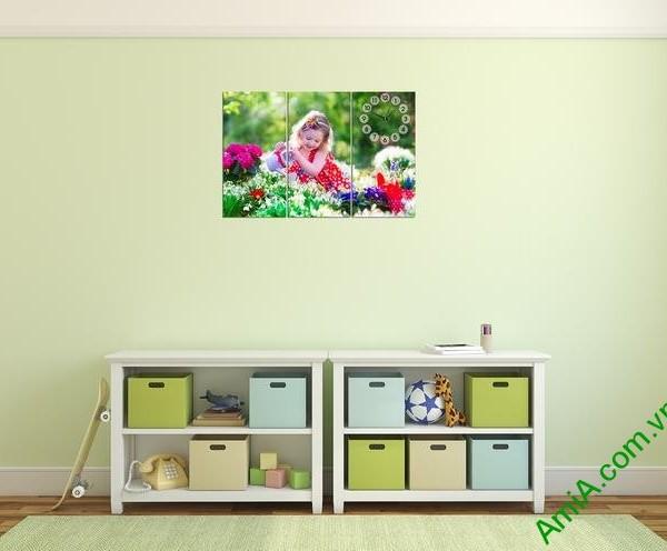 Tranh đồng hồ treo tường phòng của bé amia 321-02