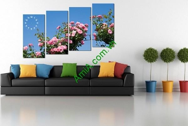 Tranh treo tường ghép nhiều tấm hoa hồng-01