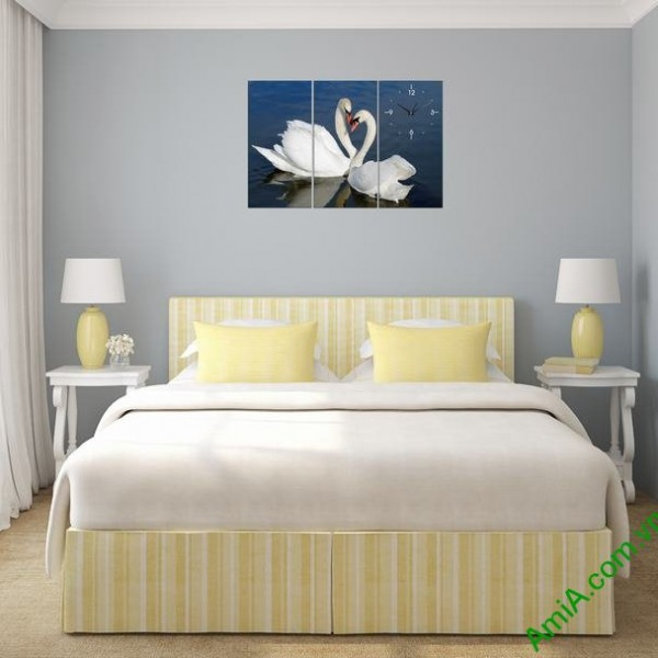 Tranh ghép bộ treo tường phòng ngủ đôi chim uyên ương-01