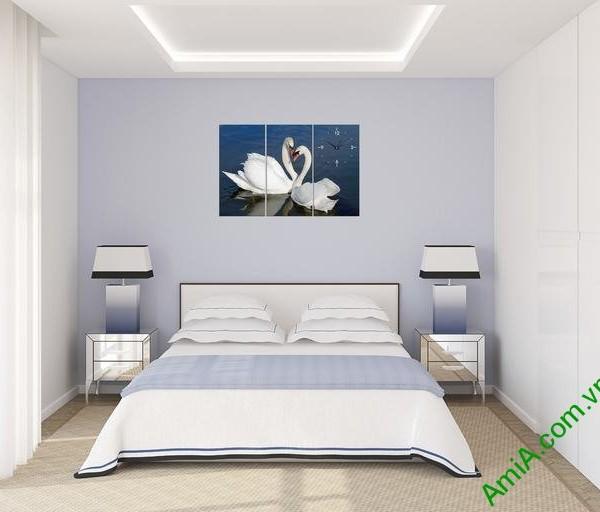 Tranh treo tường phTranh ghép bộ treo tường phòng ngủ đôi chim uyên ương-04