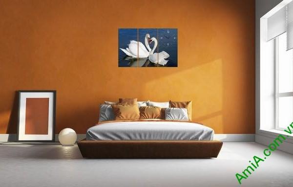 Tranh ghép bộ treo tường phòng ngủ đôi chim uyên ương-02