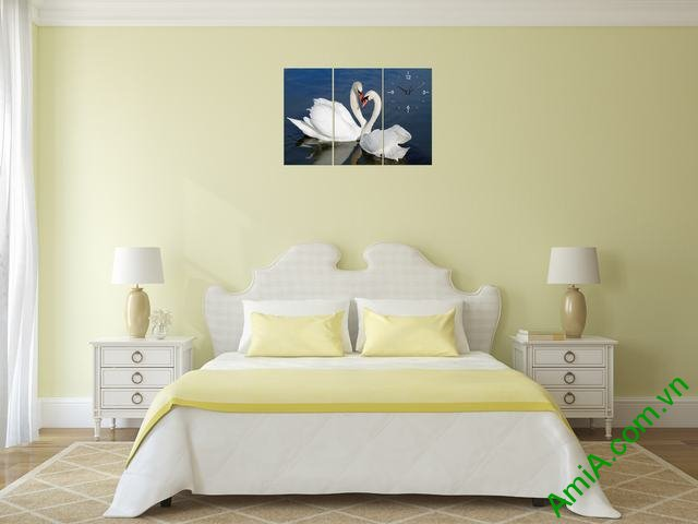 Tranh ghép bộ treo tường phòng ngủ đôi chim uyên ương-04