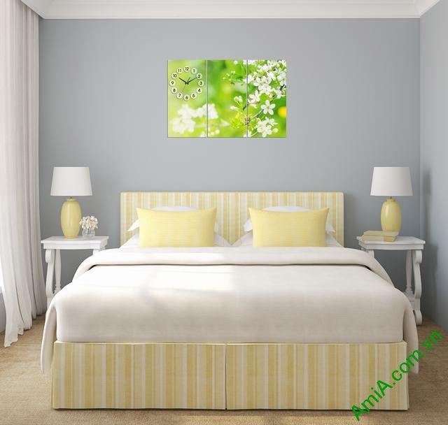 Tranh ghép bộ treo tường phòng ngủ hoa lá Amia 302-03
