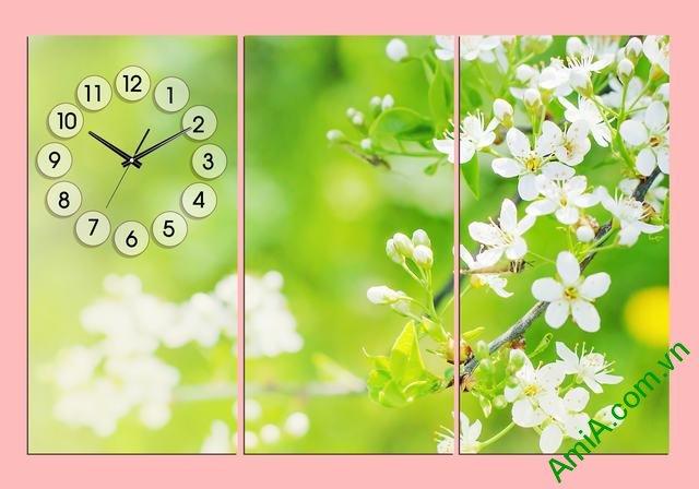 Tranh ghép bộ treo tường phòng ngủ hoa lá Amia 302 hợp tuổi Nhâm Tý
