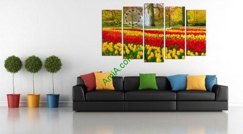 Tranh ghép treo tường khổ lớn vườn hoa Tulip Amia 220-01
