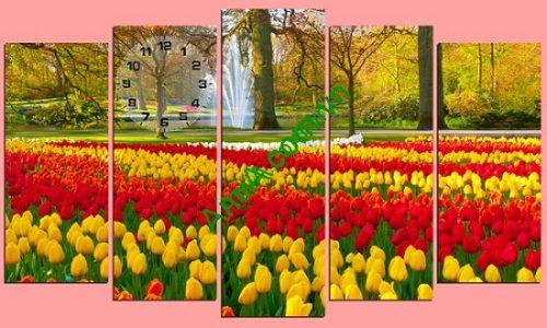 Tranh ghép treo tường khổ lớn vườn hoa Tulip Amia 220