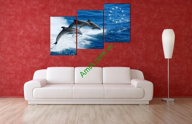Tranh Cá Heo rất phù hợp treo tường phòng khách tạo không gian rộng lớn, thoải mái