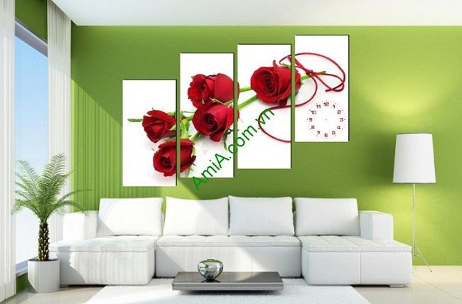 Tranh treo tường ghép bộ phòng ngủ hoa hồng Amia 155-02