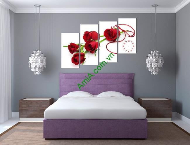 Tranh treo tường ghép bộ phòng ngủ hoa hồng Amia 155-01