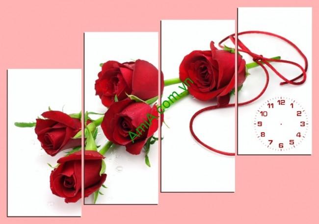 Tranh treo tường ghép bộ phòng ngủ hoa hồng Amia 155