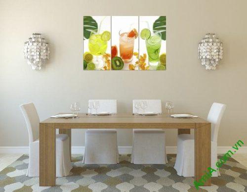 Tranh treo tường phòng ăn bộ ly nước 3 tấm amia 307-01