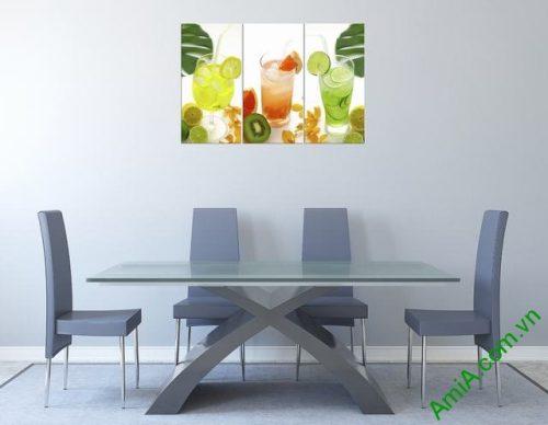 Tranh treo tường phòng ăn bộ ly nước 3 tấm amia 307-02