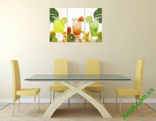 Tranh treo tường phòng ăn bộ ly nước 3 tấm amia 307