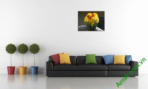 Tranh treo tường phòng khách, phòng ngủ đôi chim amia 326-02