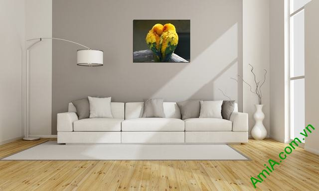 Tranh treo tường phòng khách, phòng ngủ đôi chim amia 326-03