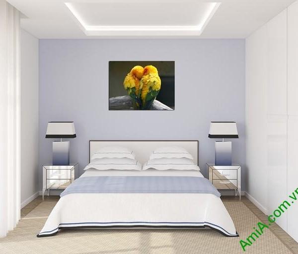Tranh treo tường phòng khách, phòng ngủ đôi chim amia 326-05