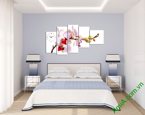 Tranh Hoa Phong Lan treo tường phòng ngủ Amia 246