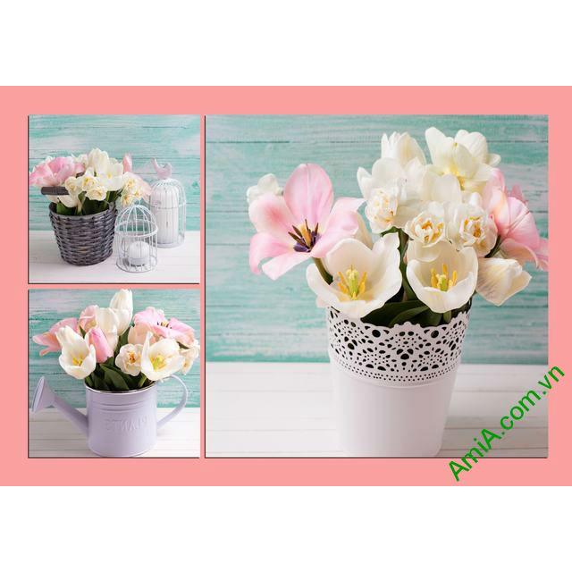 Tranh treo tường phòng ngủ Bình hoa Tulip Amia 289-00