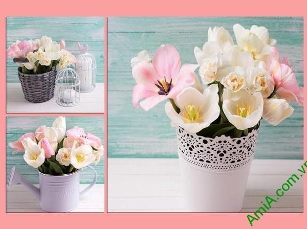 Tranh treo tường phòng ngủ Bình hoa Tulip Amia 289