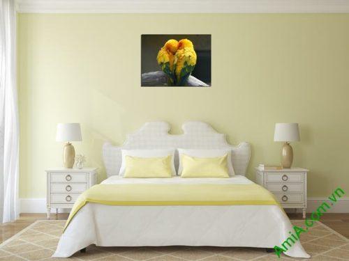 Tranh treo tường phòng khách, phòng ngủ đôi chim amia 326-01