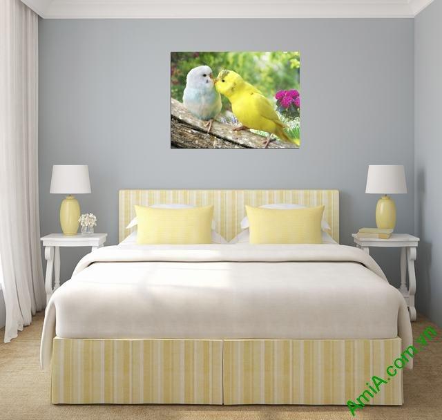 Tranh treo tường phòng ngủ hiện đại Đôi chim Vẹt Amia 350-01