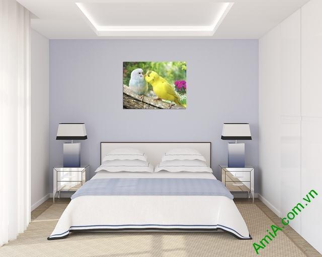 Tranh treo tường phòng ngủ hiện đại Đôi chim Vẹt Amia 350-02