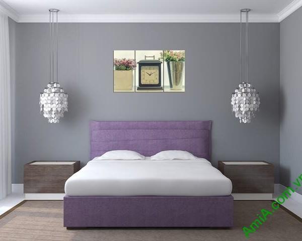 Tranh treo tường phòng ngủ hiện đại đồng hồ Amia 283-01