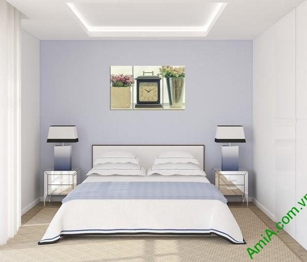 Tranh treo tường phòng ngủ hiện đại đồng hồ Amia 283-03