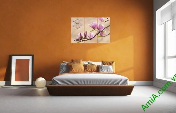 Tranh treo tường phòng ngủ nhành hoa mộc lan amia 304-01