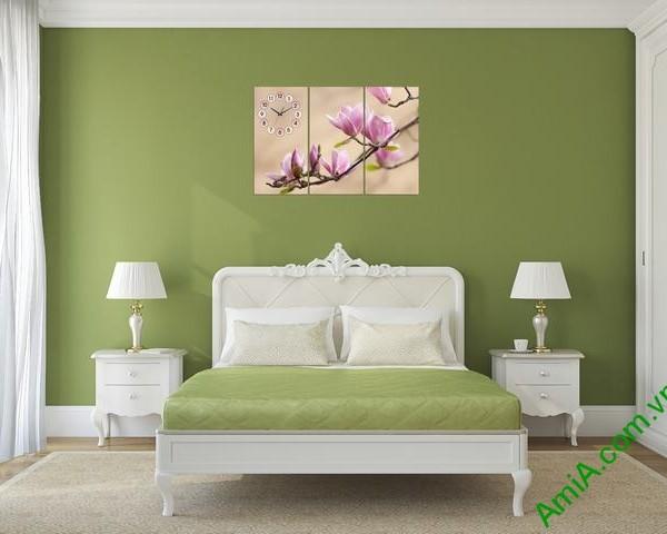 Tranh treo tường phòng ngủ nhành hoa mộc lan amia 304-03