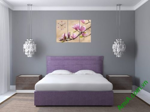 Tranh treo tường phòng ngủ nhành hoa mộc lan amia 304-04