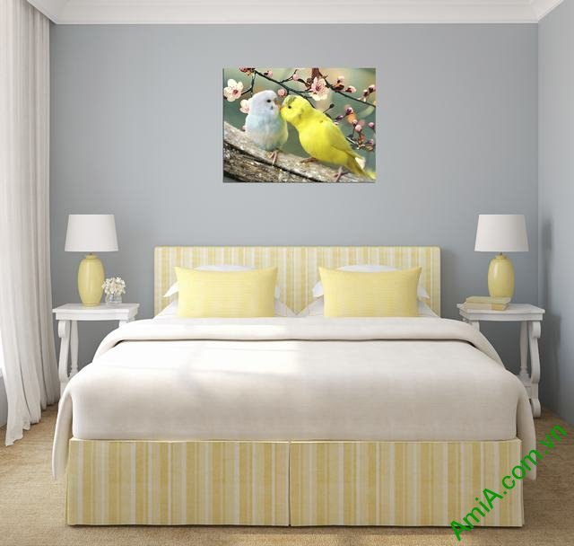 Tranh treo tường phòng ngủ vợ chồng đôi chim vẹt Amia 351-02
