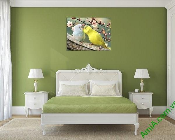 Tranh treo tường phòng ngủ vợ chồng đôi chim vẹt Amia 351-01