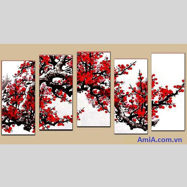 Tranh sơn dầu treo tường Hoa Đào Amia TSD 102