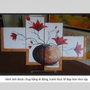 Tranh sơn dầu treo tường ghép bộ Bình Hoa 00