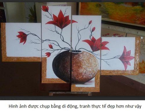 Tranh sơn dầu treo tường ghép bộ Bình Hoa