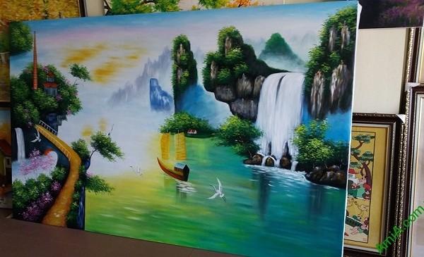 Tranh sơn dầu treo tường khổ lớn Thuận Buồm Xuôi Gió