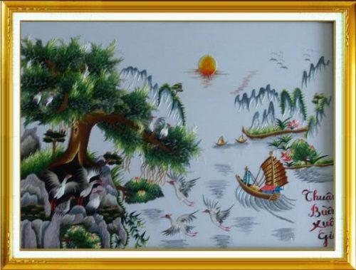 Tranh thêu tay treo tường Thuận Buồm Xuôi Gió