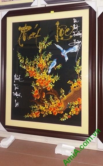 Tranh thêu treo tường Mai vàng Phát Lộc