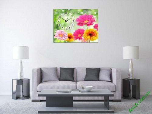 Tranh đồng hồ hoa treo tường phòng khách, phòng ngủ amia 385-01