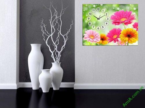 Tranh đồng hồ hoa treo tường phòng khách, phòng ngủ amia 385-02