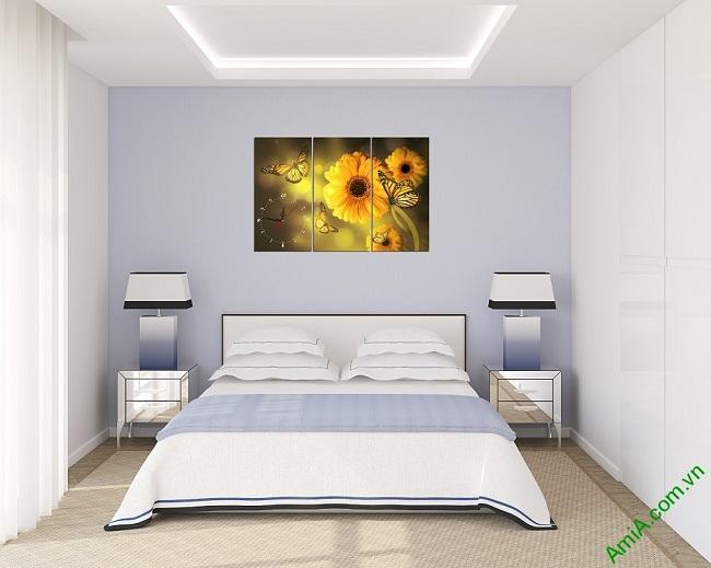 Tranh đồng hồ hoa treo tường phòng ngủ amia 384-01