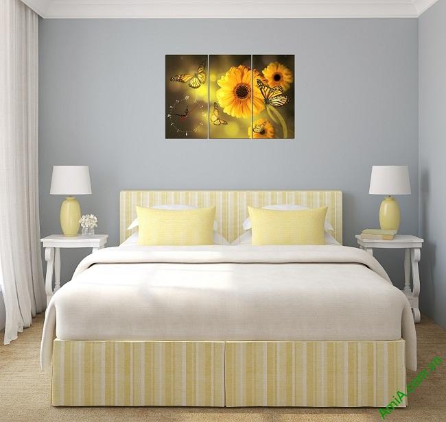 Tranh đồng hồ hoa treo tường phòng ngủ amia 384-02