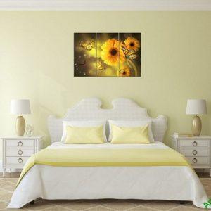 Tranh đồng hồ hoa treo tường phòng ngủ amia 384-03