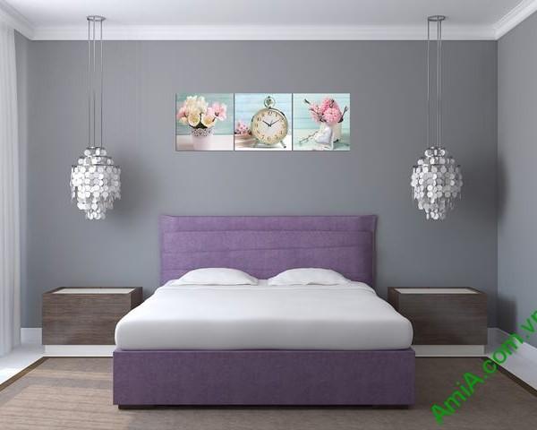 Tranh đồng hồ treo tường phòng ngủ hiện đại Amia 280-01