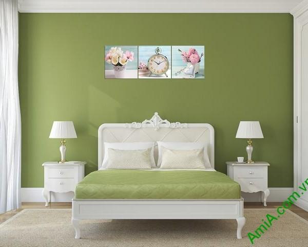 Tranh đồng hồ treo tường phòng ngủ hiện đại Amia 280-02