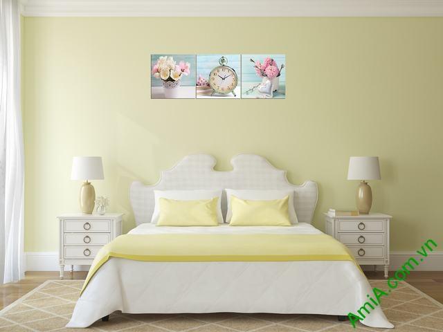 Tranh đồng hồ treo tường phòng ngủ hiện đại Amia 280-03