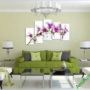 Tranh ghép bộ treo tường phòng khách cành lan tím-03