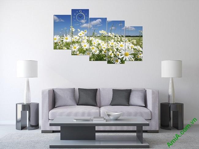 Tranh ghép bộ treo tường phòng khách hoa cúc họa mi-01