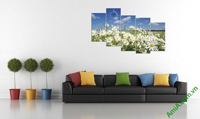 Tranh ghép bộ treo tường phòng khách hoa cúc họa mi-02